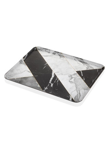 The Mia Büyük Tepsi - 45 x 35 Marble Siyah Siyah